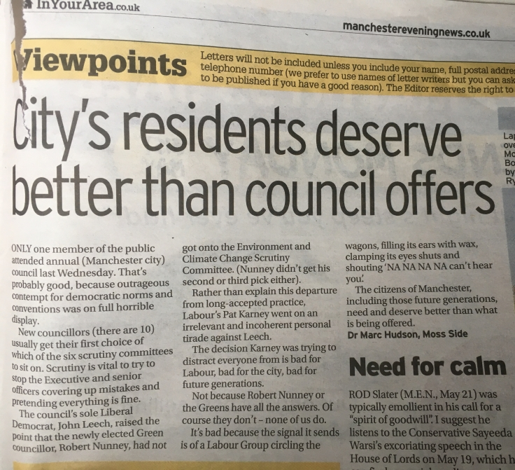 Letter in Manchester Evening News